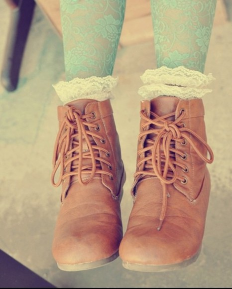 tights shoes boots cute brown love it socks lace
