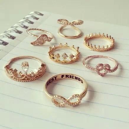 jewels bff ring wings crown heart