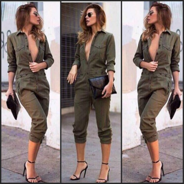 e7774641da4 shirt military style army green jumpsuit army green romper cargo romper long  sleeve jumpsuit long sleeve