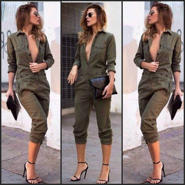 Shirt Military Style Army Green Jumpsuit Army Green