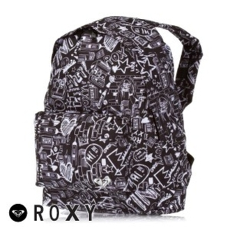 bag roxy backpack school bag tagged black white pretty funny love it ❤️