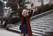 meri wild,blogger,coat,skirt,shoes,bag,denim skirt,fall outfits