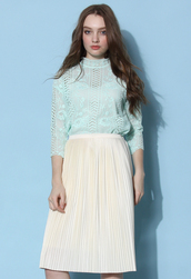 top,chicwish,roses lace top,mint lace top,chicwish.com
