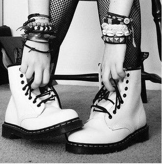 shoes grunge punk combat boots black white