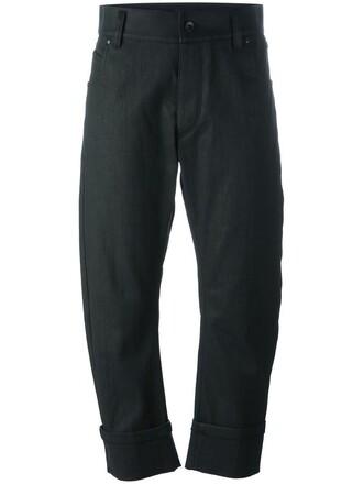 cropped women spandex cotton black pants