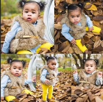 vest leggings fur vest fur coat fur fashion fall outfits fall fashion faux fur girl girly leaves belt gold belt denim shirt yellow leopard print leopard flats kids fashion fashion kids faux fur vest