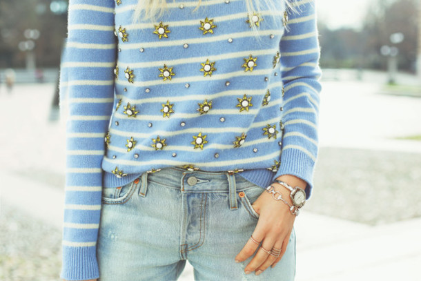 peace love shea blogger jeans striped sweater embellished sweater shoes sunglasses jewels