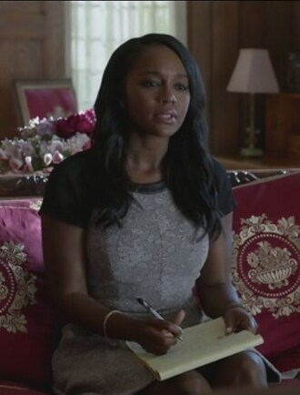 dress grey short sleeve how to get away with murder aja naomi king michaela pratt leather trim jacquard