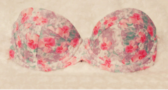 swimwear bikini top bikini floral pink cute push up