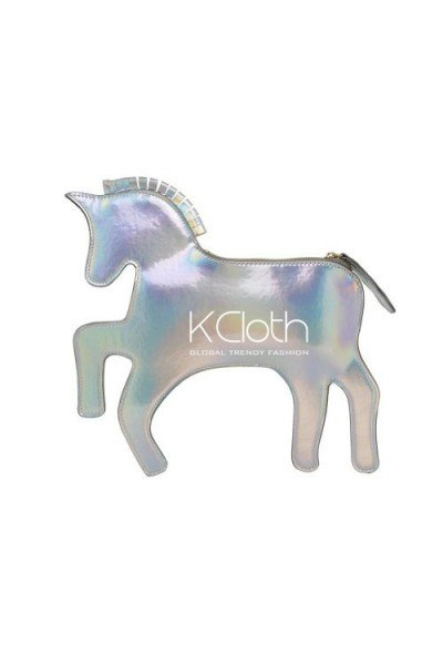 KCLOTH Rainbow Unicorn' Silver Hologram Clutch Bag with shoulder straps