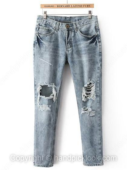Light Blue Button Fly Hollow Ripped Jeans - HandpickLook.com