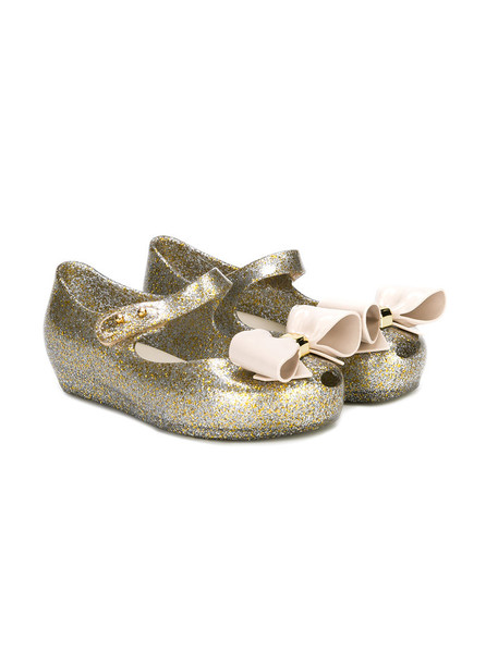 MINI MELISSA bow glitter embellished shoes grey metallic