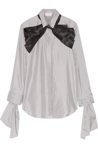 shirt bow cotton silk charcoal top