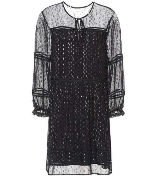Velvet chiffon black dress