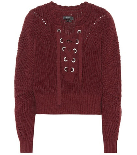 Isabel Marant Laley lace-up sweater in red