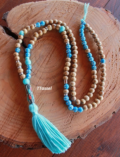 long beaded necklace Blue tassel necklace wood bead necklace