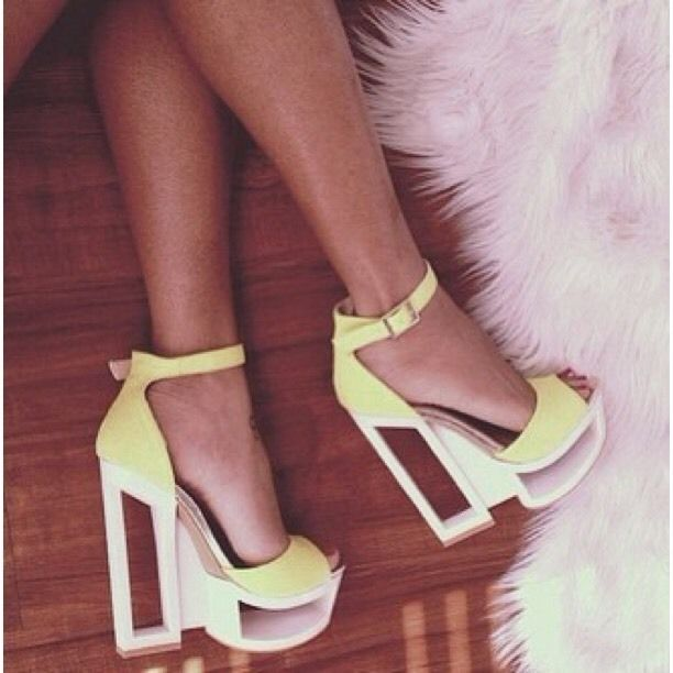 Neon yellow bright new high heels unusual sexy hot club fluro cheap