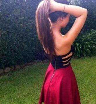 dress black bodice black top black cutout red skirt red burgundy red bottom short mini dress sidecutouts