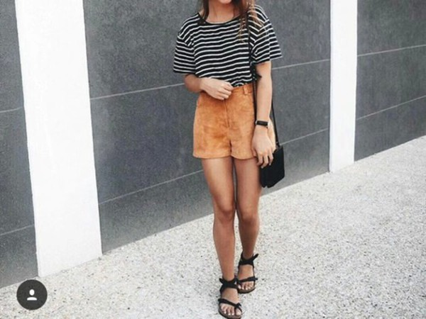Vintage High Waisted Tan Suede Shorts