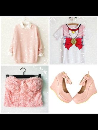 sweater t-shirt sailor moon kawaii pastel cute pink bustier bows girly