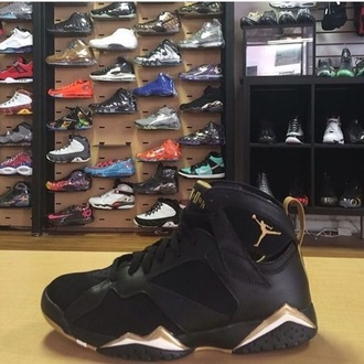 shoes jordan's gold black nike air jordan swag basketball retro 6s 7s