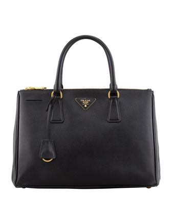 Prada Saffiano Small Double-Zip Executive Tote Bag, Black - Neiman Marcus