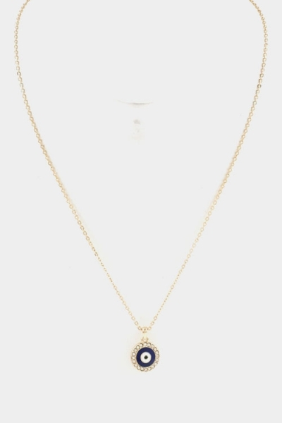 Dainty evil eye crystal charm necklace