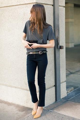 t-shirt casual grey t-shirt black trousers belt pants