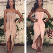 dress,clothes horse,summer,fashion,style,nude,strapless,hot,slit dress,spring,maxi,rose wholesale-feb,tan dress,wrap dress,tan,classy,maxi dress,waterfall dress,spring dress,sexy,cute,sexy spring dress