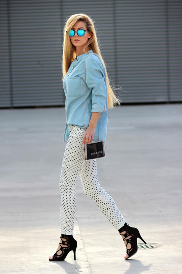 sirma markova shirt jeans shoes sunglasses bag