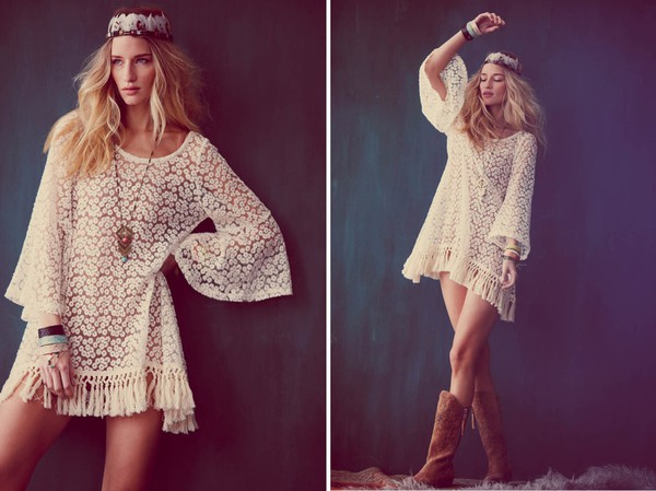 dress boho hippie lace white floral
