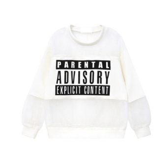 HolyPink TM - Parental Advisory Explicit Content Blanc Transparent voir à travers mailles de filet cavalier pull Jumper Sweater Sweatshirt Free Size Unisexe Femmes Alexander Wang Longueur : 57 cm Buste : 102 cm Manches : 51 cm épaules : 42 cm: Amazon.fr: Vêtements et accessoires