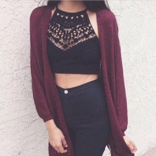 shirt black top lace crop top black crop top halter top brandy melville crop tops lace top lace cami cardigan