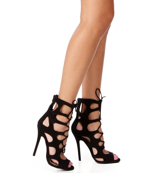 Pre-Order: Black Lace Up Heels on Wanelo