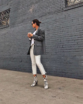 shoes,tumblr,boots,snake print,ankle boots,pants,white pants,lace up pants,blazer,check blazer,grey blazer,song of style,blogger