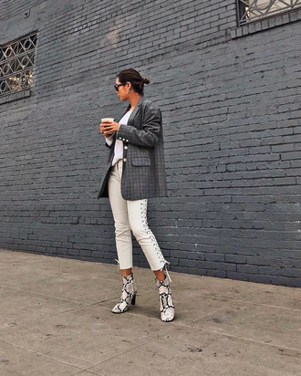 shoes tumblr boots snake print ankle boots pants white pants lace up pants blazer check blazer grey blazer song of style blogger