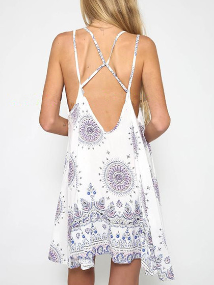White Tribe Pattern Backless Double Strap Cami Dress