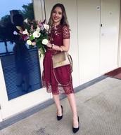 dress,burgundy lace dress,midi dress,burgundy,red dress,lace