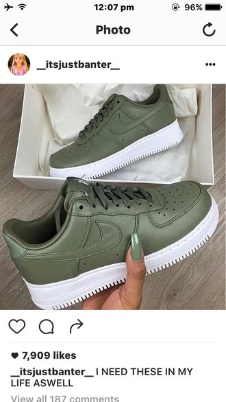 shoes nike army green nike air force 1