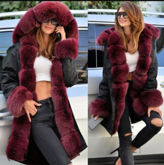 coat womens parka parka faux fur faux fur jacket wine red long jacket long coat
