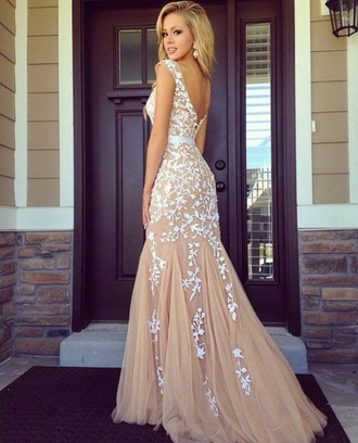 dress prom dress floral nude white