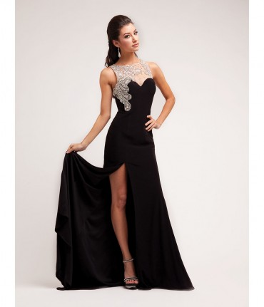 2014 Prom Dresses - Black Jersey & Paisley Stone Gown | Unique Prom