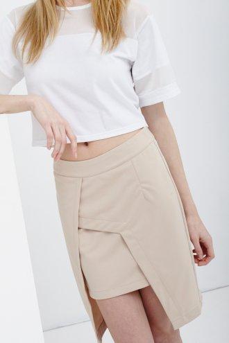 Nude Asymmetric Split Pencil Skirt -  from Lavish Alice UK