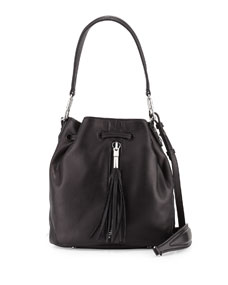 Elizabeth and James Cynnie Tassel Mini Bucket Bag, Black