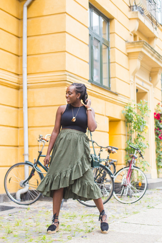 skirt wrap tumblr green skirt ruffle wrap skirt wrap ruffle skirt sandals espadrilles top black top shoes ruffle skirt wrapped skirt midi skirt tank top blogger blogger style
