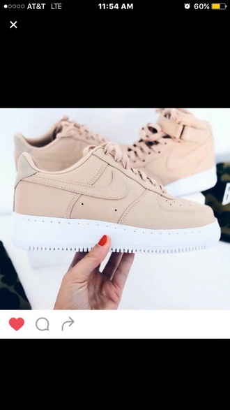 shoes nude sneakers nike air force 1 nike