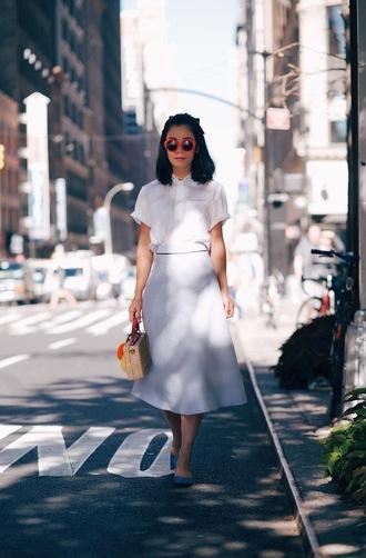 hallie daily blogger midi skirt white shirt short sleeve