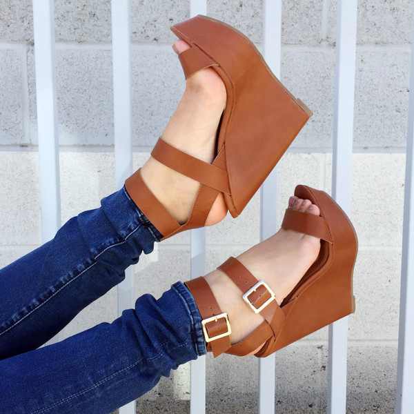 59a158b4322 Tan Faux Leather Double Ankle Strap Wedges   Cicihot Wedges Shoes ...