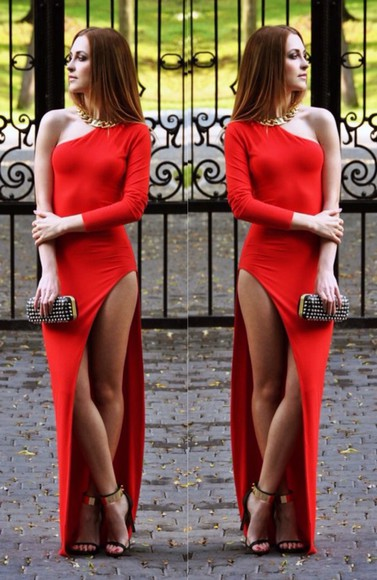 hot sexy dress long classy style maxi prom dress party dress party red dress bag high heels mini bag jewels necklace long prom dress long dress long sleeves long sleeve dress long red dress platform shoes slit dress make-up streetwear streetstyle studs athletic
