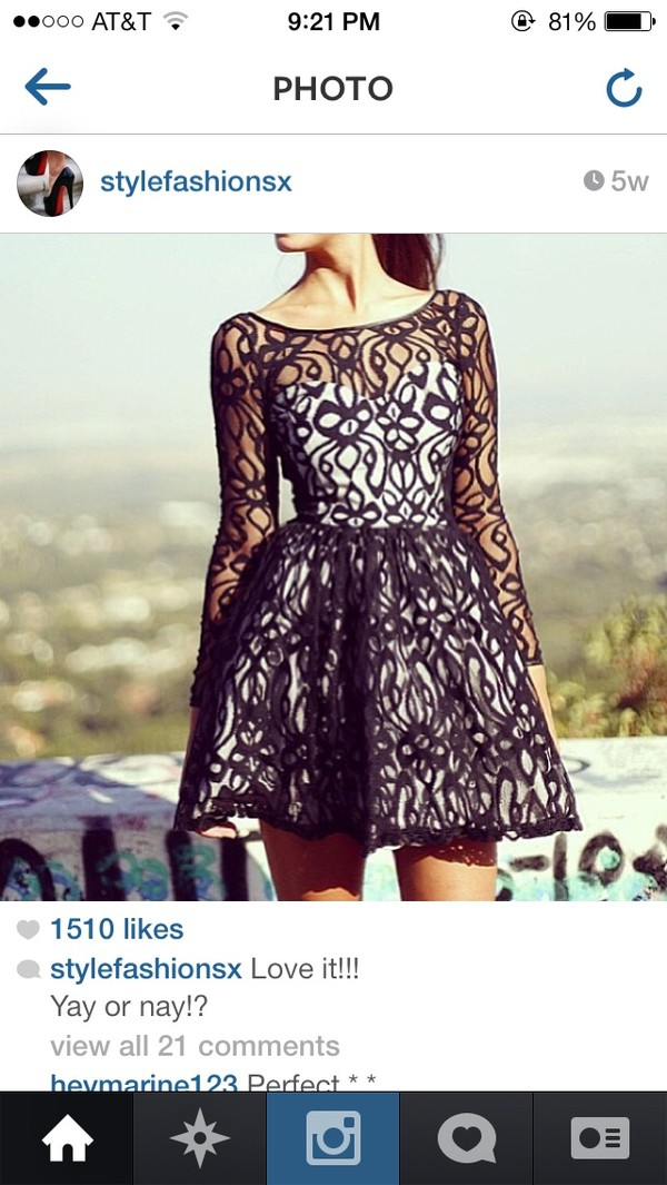dress black dress lace fit and flare